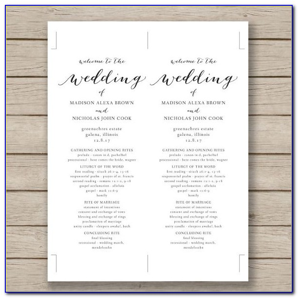 Church Wedding Program Template With Mass