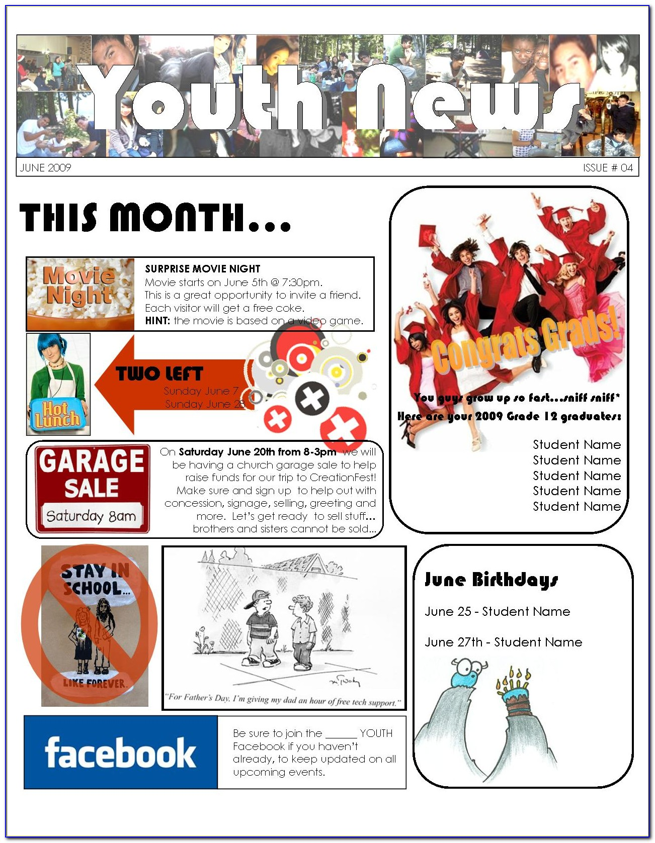Church Youth Newsletter Templates