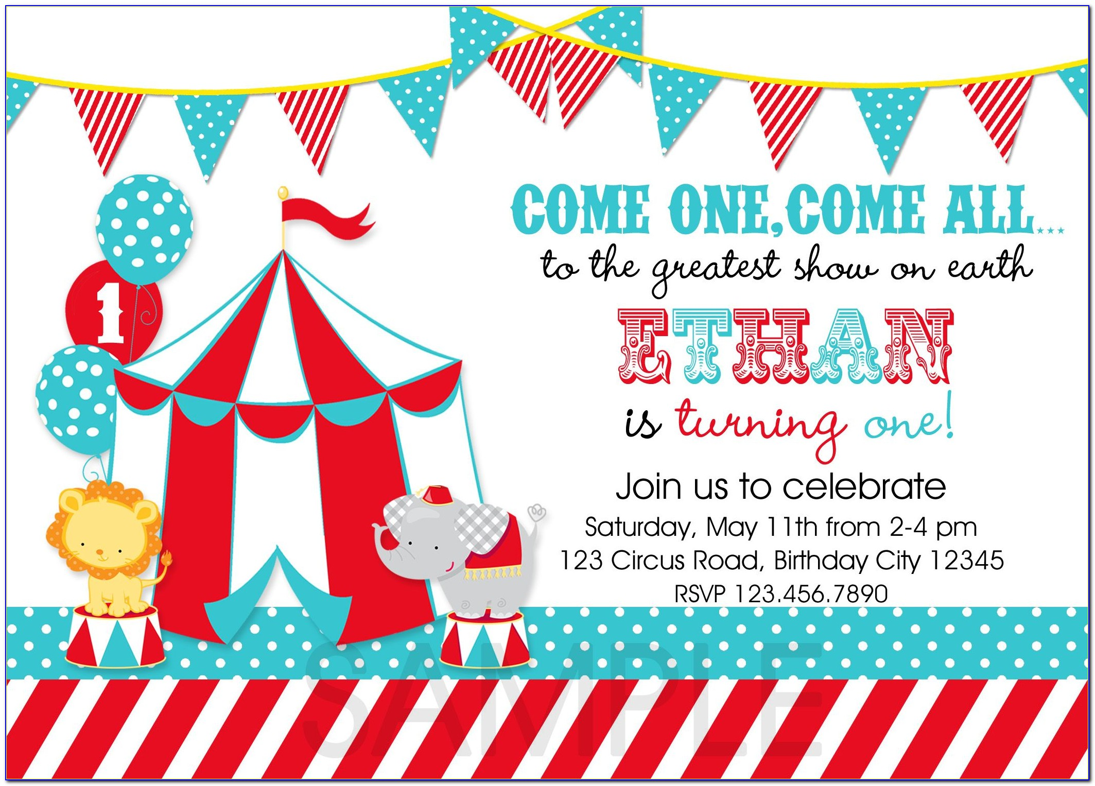 Circus Party Invitation Template Free Download