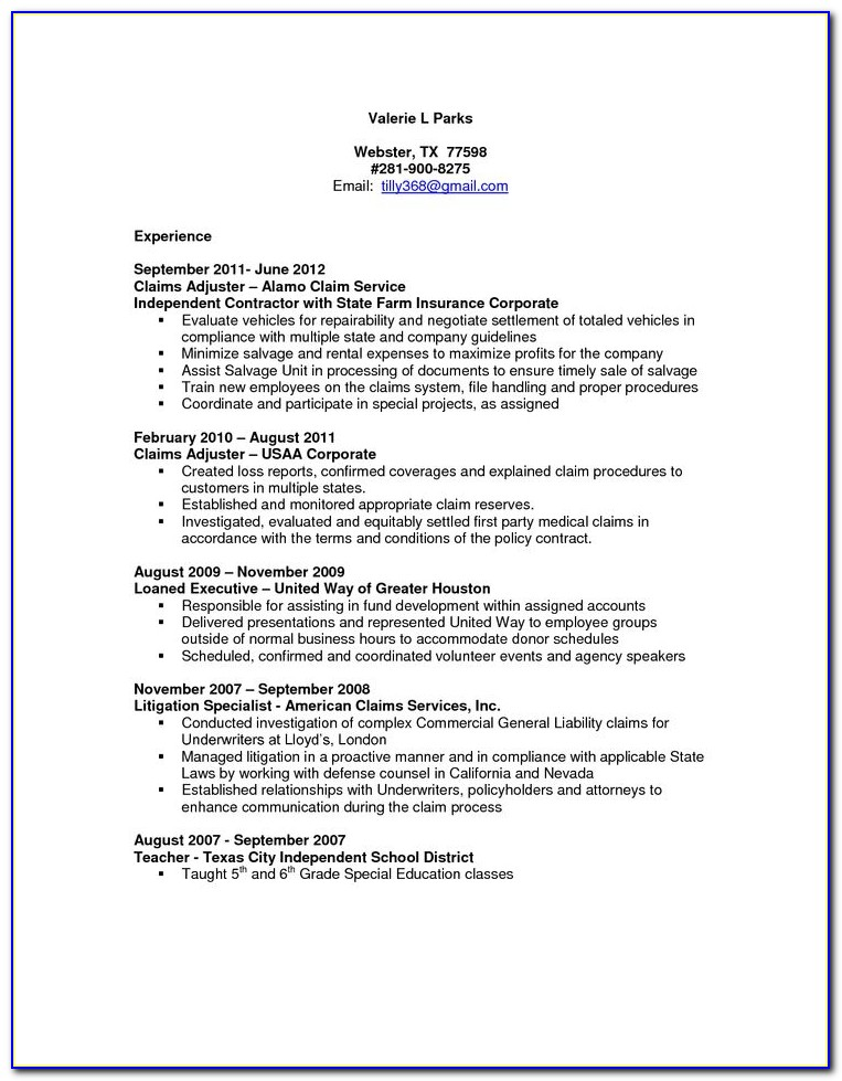 Claims Adjuster Resume Template
