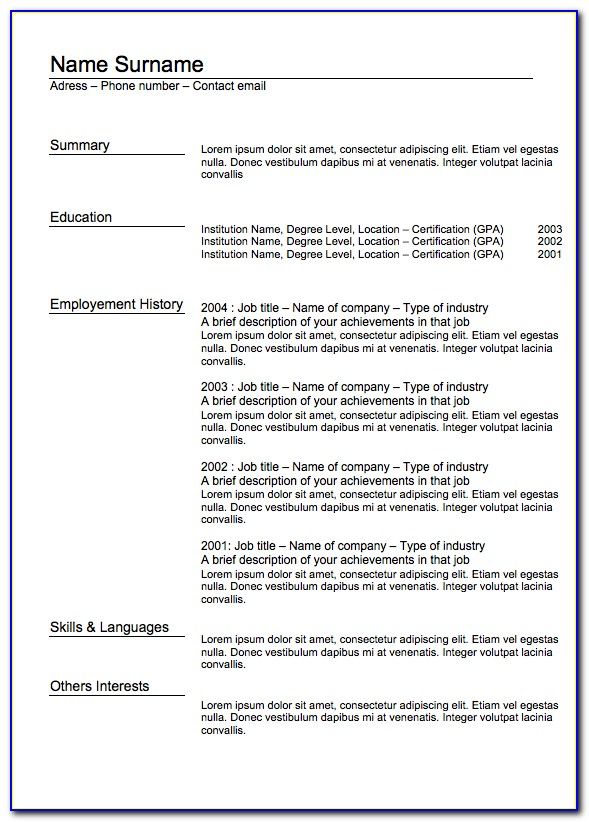 Classic Cv Template Word Free Download
