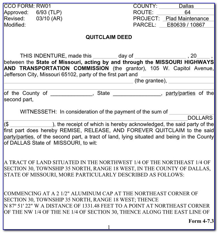 Clay County Missouri Quit Claim Deed Form