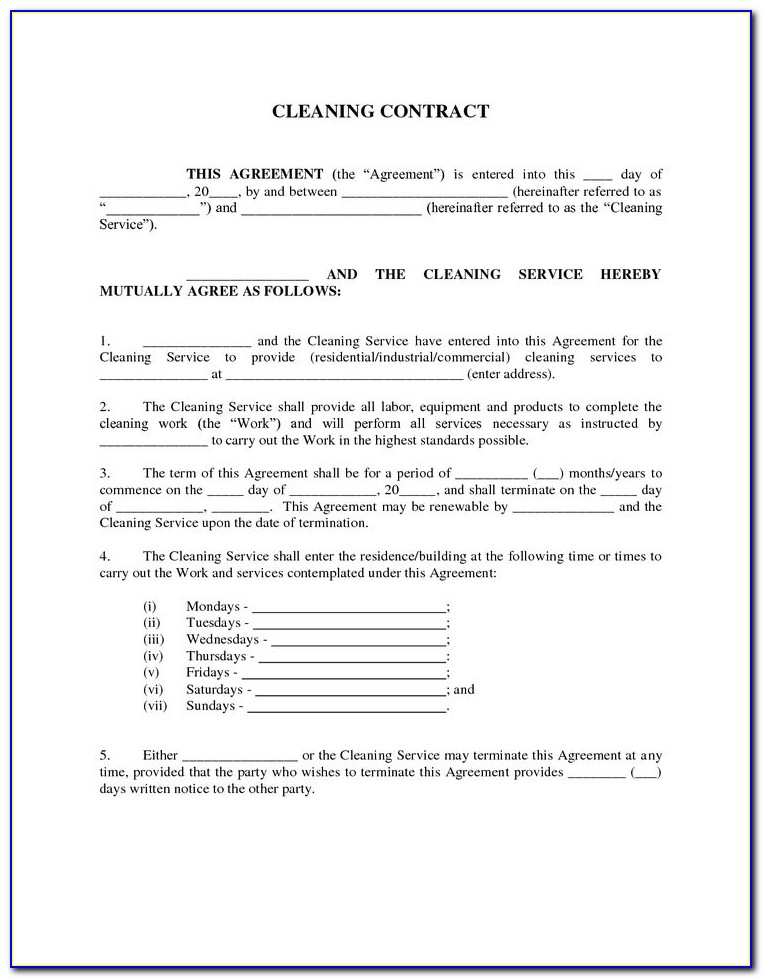 Cleaning Business Contract Agreements