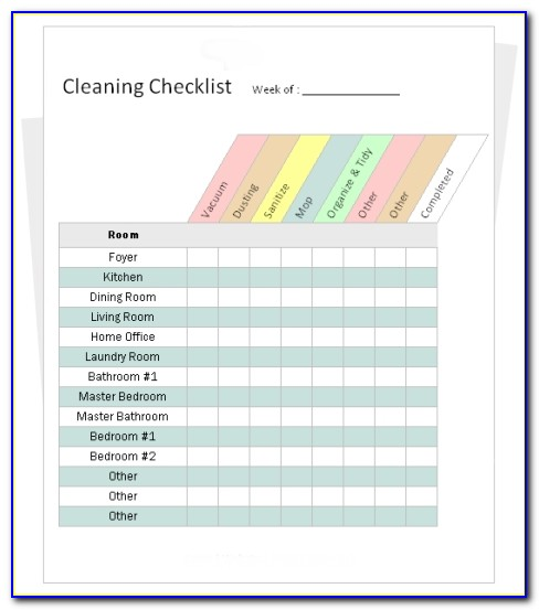 Cleaning Company Checklist Template Free