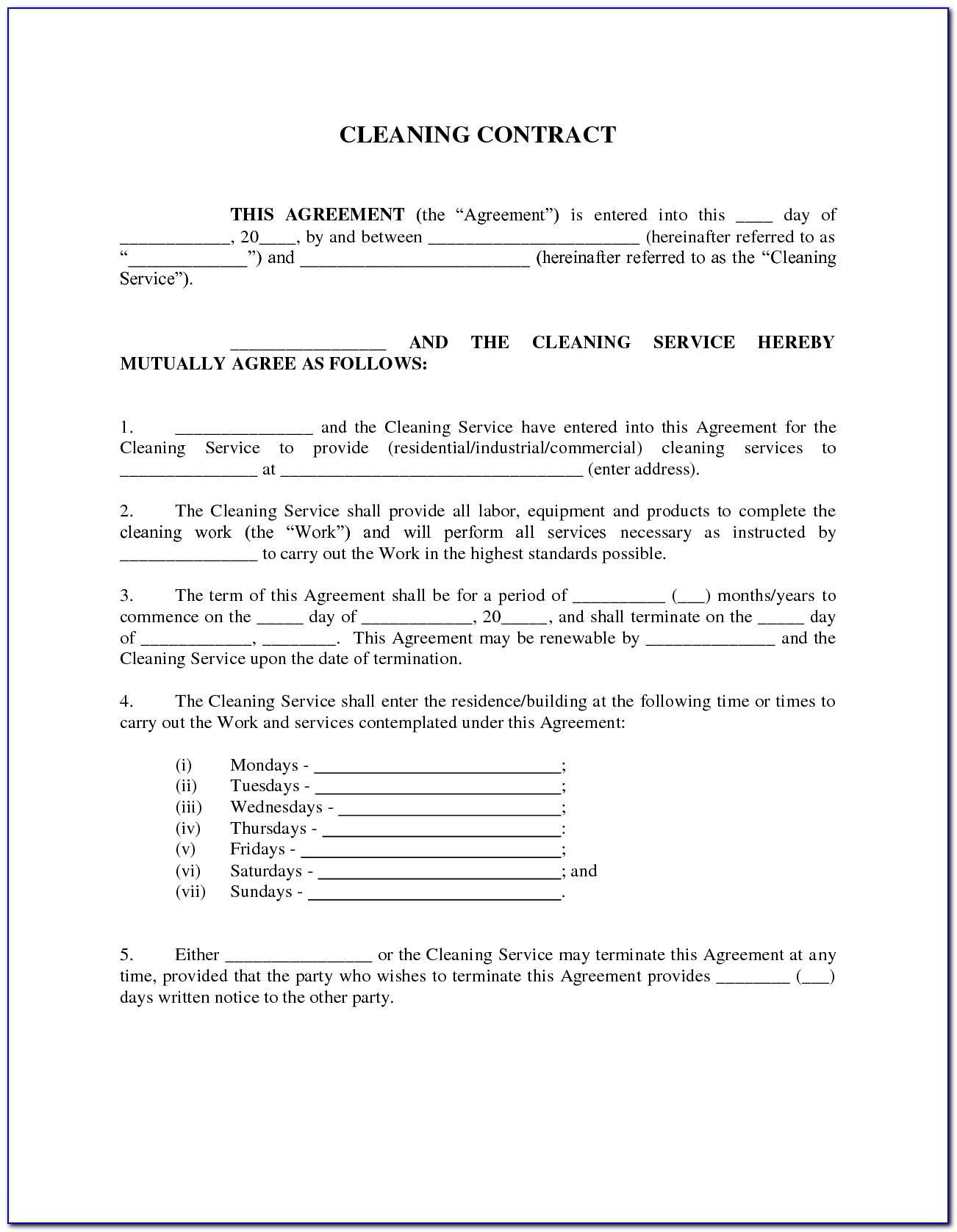 Cleaning Contract Template Nz