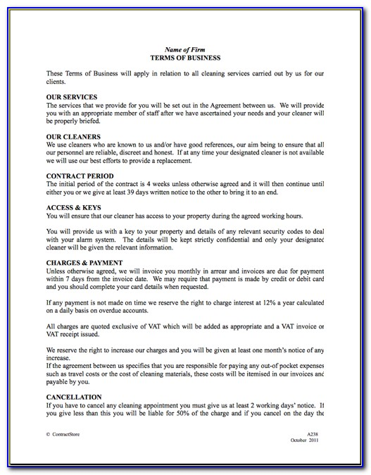 Cleaning Contract Template Uk