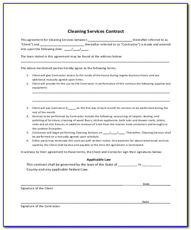 Cleaning Contracts Templates Free