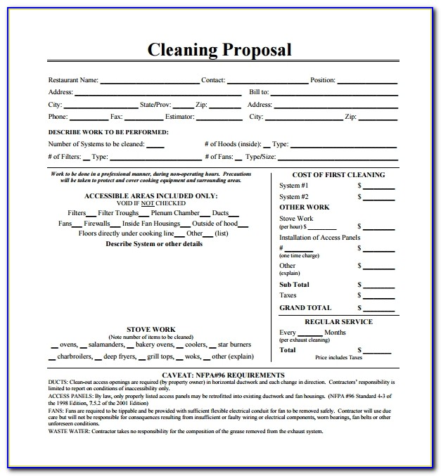 Cleaning Proposal Template Uk