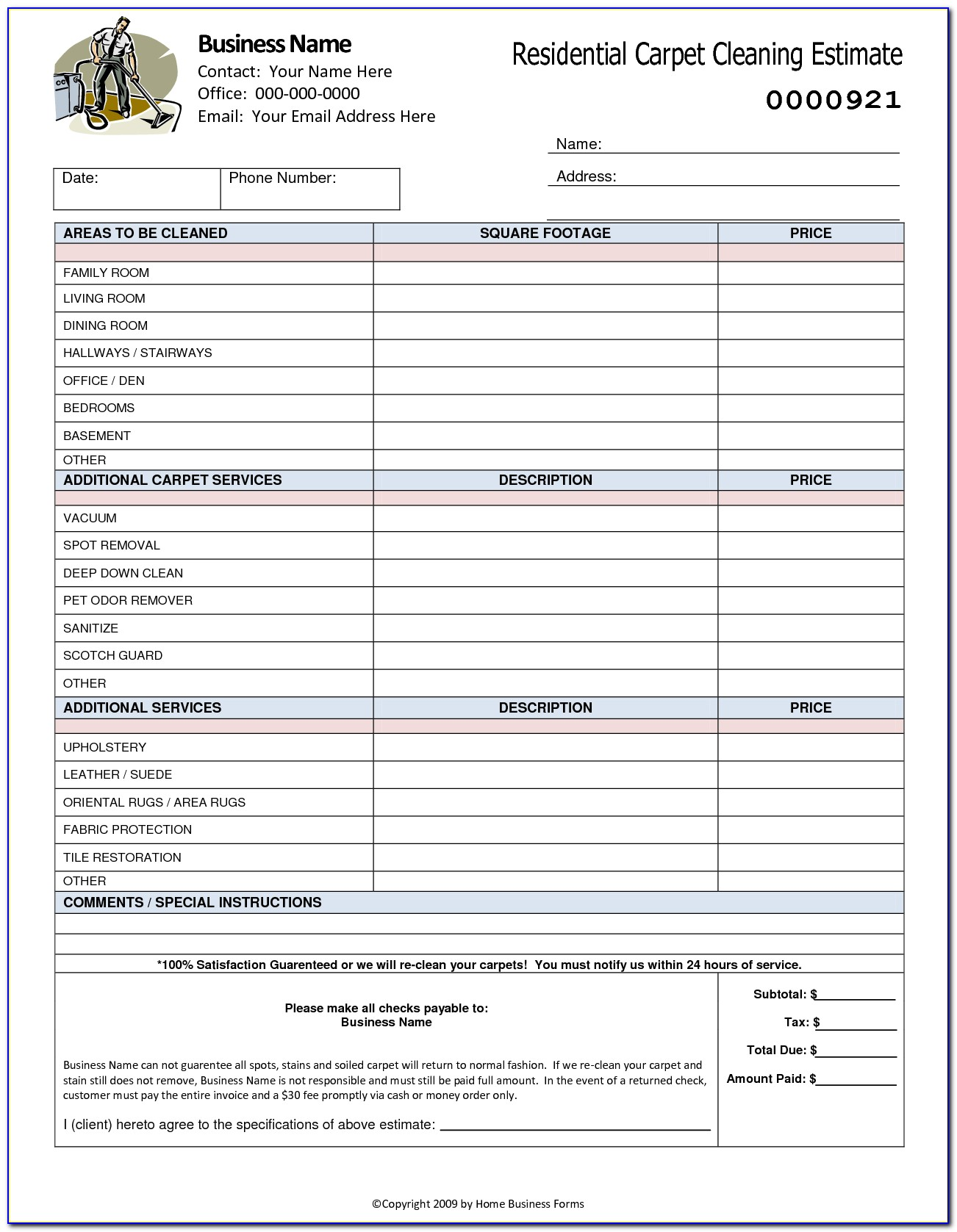 Cleaning Quote Template Excel
