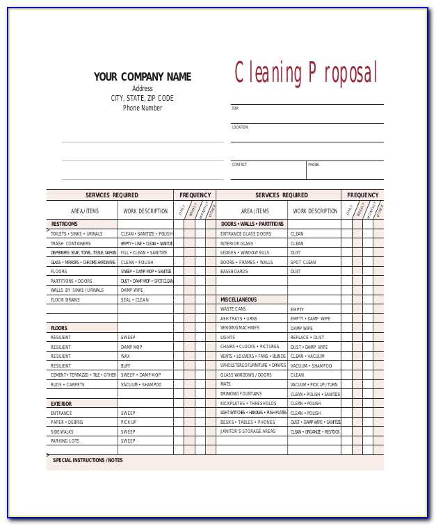 Cleaning Quote Template Free