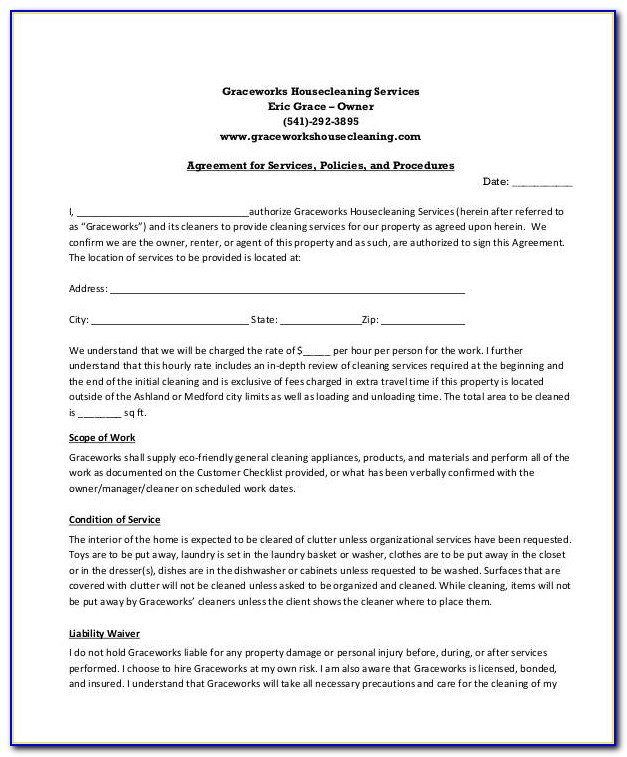 Cleaning Service Agreement Doc