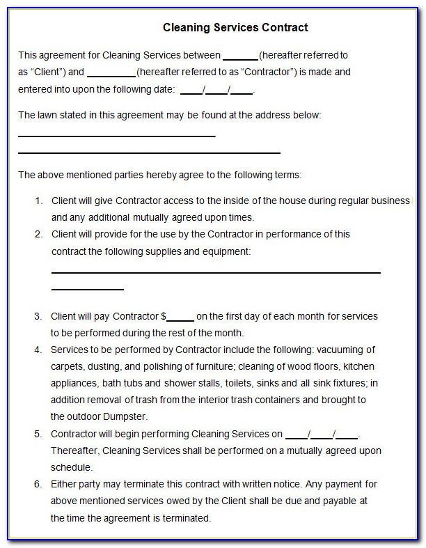 Cleaning Services Agreement Template