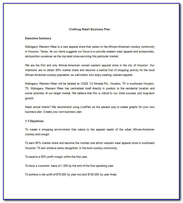 Clothing Line Business Plan Template Pdf