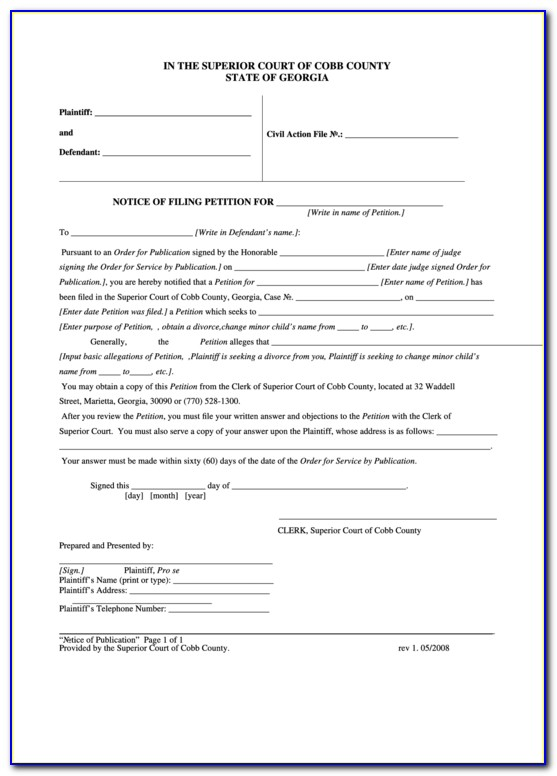 Cobb County Divorce Forms