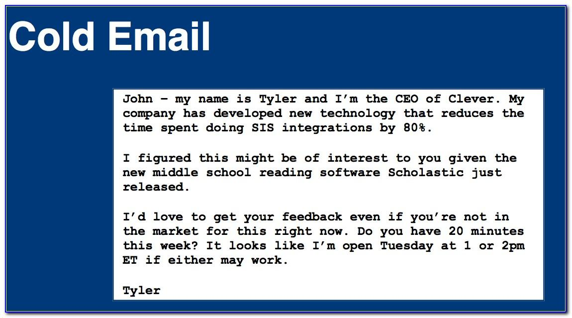 Cold Call Email Template For Job