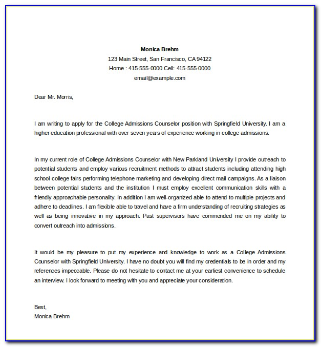 College Admissions Counselor Cover Letter Sample