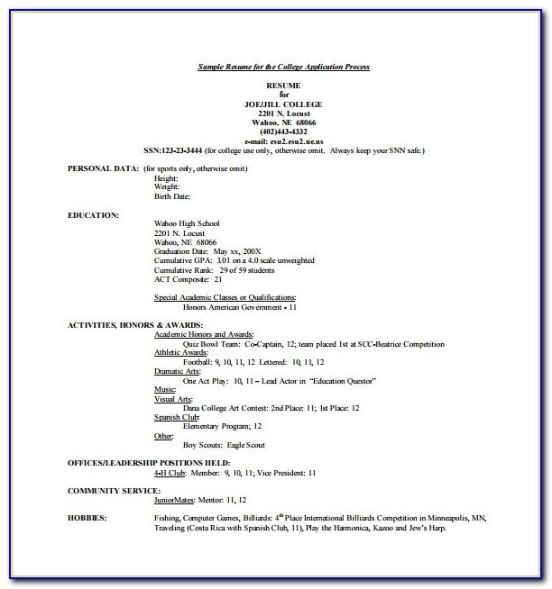 College Resume Template Free