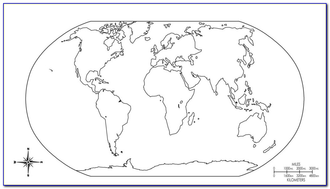 Colored Continents Map Of The World