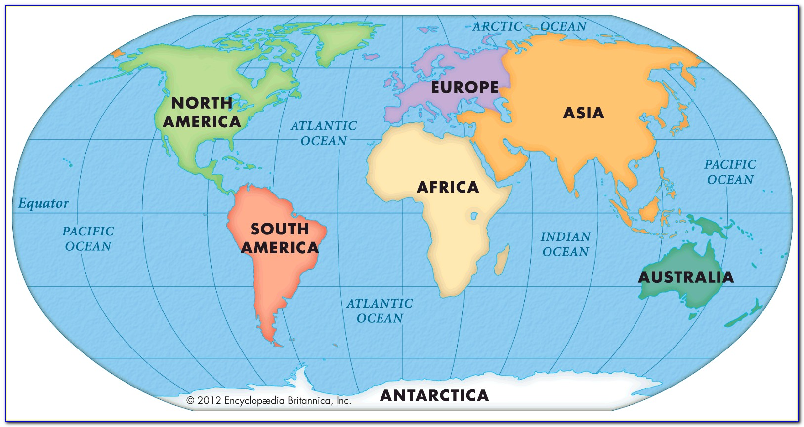 Colored Map Of Continents And Oceans