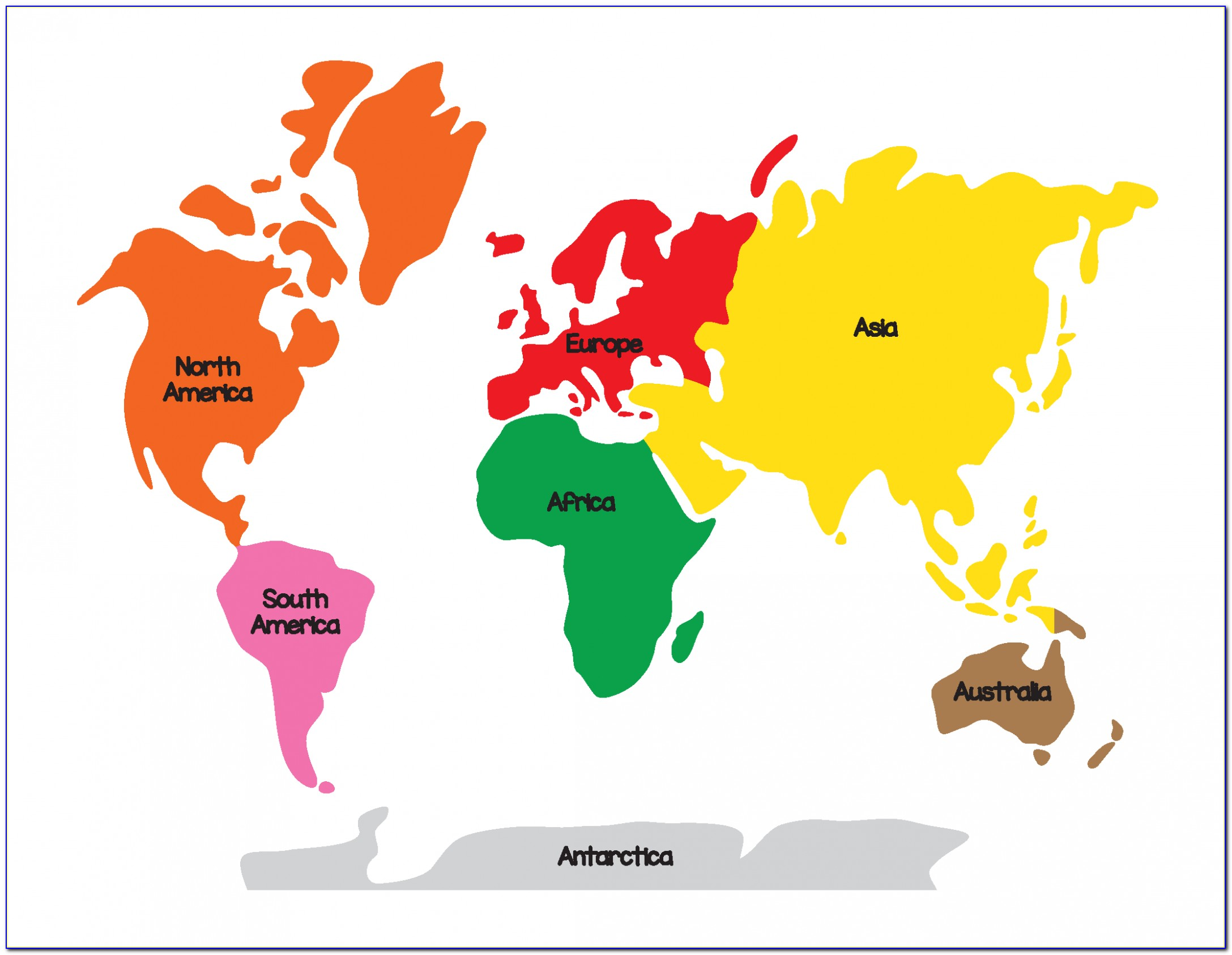 Colored Map Of Seven Continents