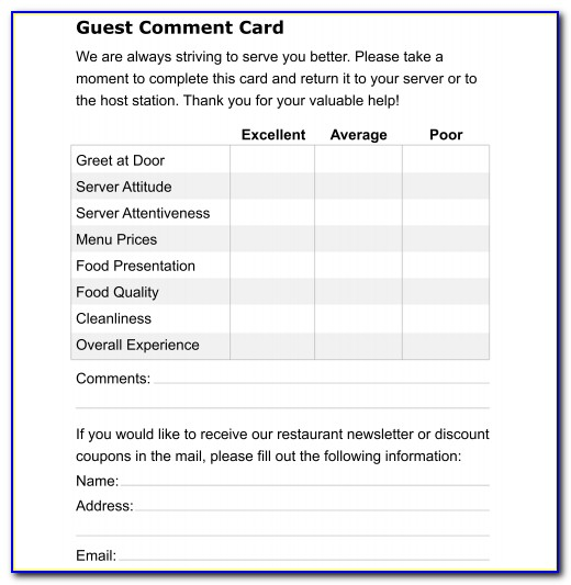 Comment Card Template For Restaurants