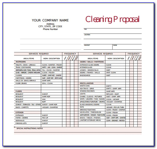 Commercial Cleaning Bid Template