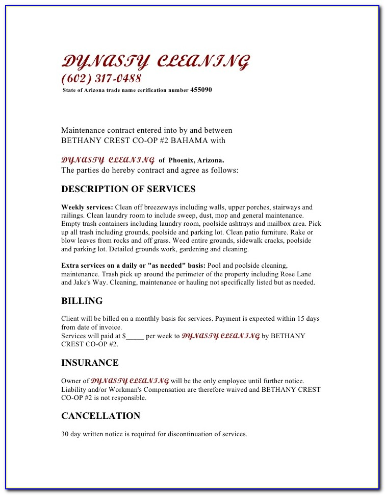 Commercial Cleaning Service Agreement Template