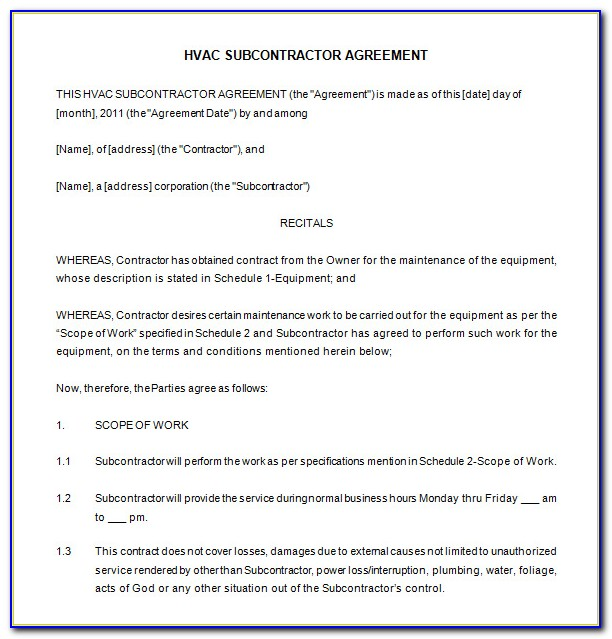 Commercial Hvac Service Contract Template