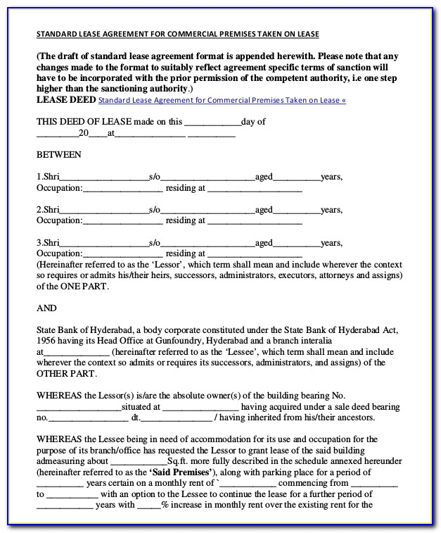 Commercial Lease Agreement Sample Pdf