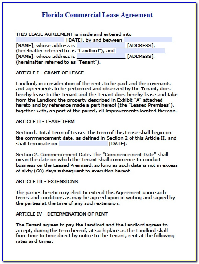 Commercial Lease Agreement Template Florida