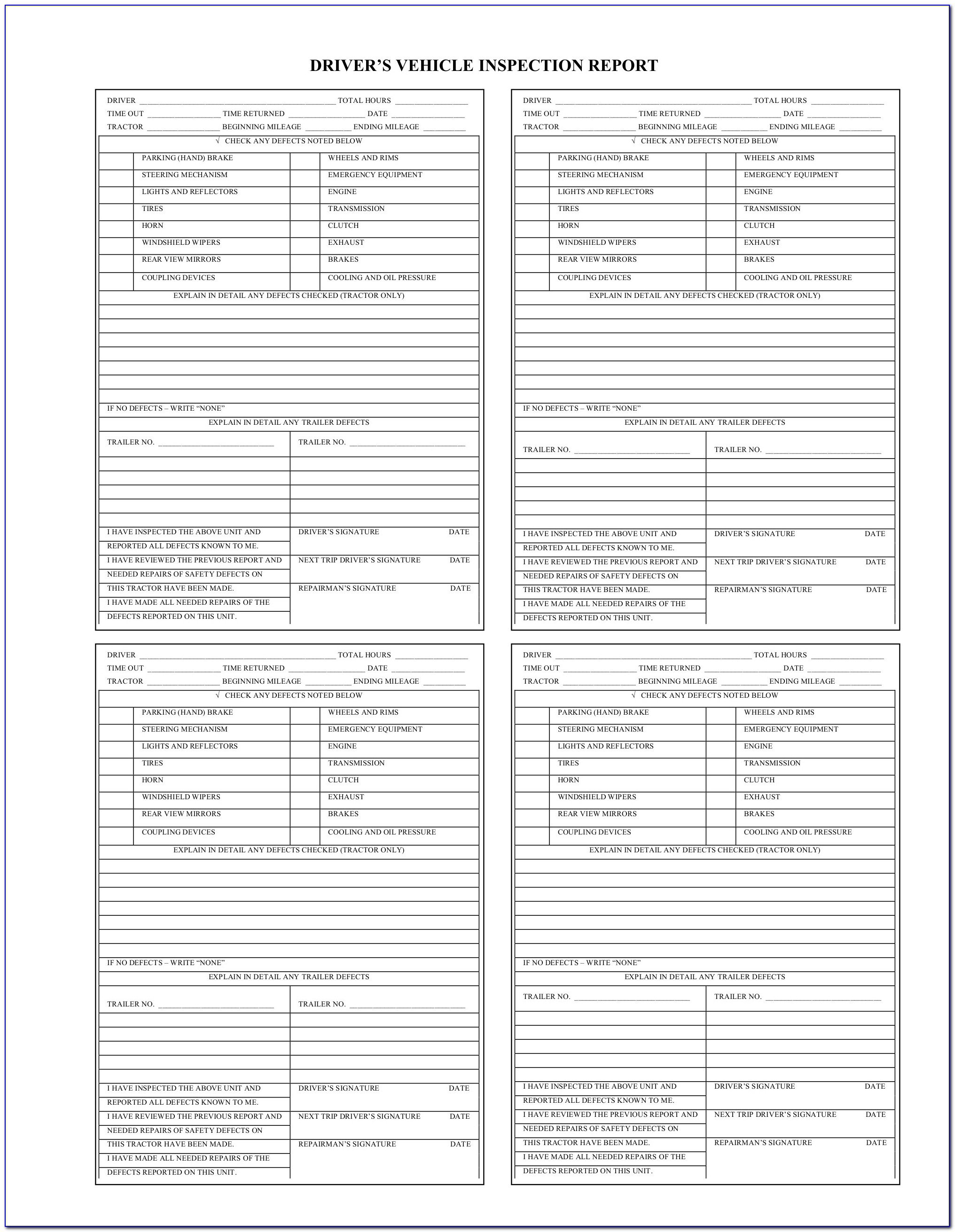 Commercial Property Inspection Report Template Unique Part 396 Page 2 Drivers Vehicle Inspection Report Form