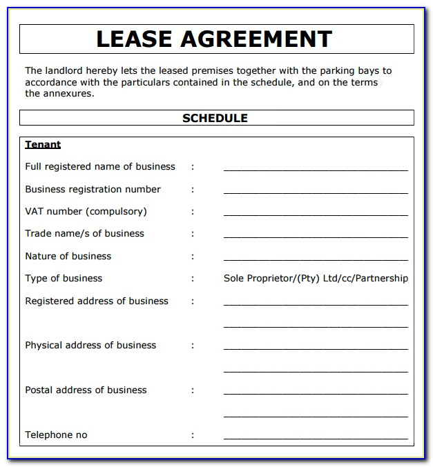 Commercial Property Lease Agreement Free Template South Africa