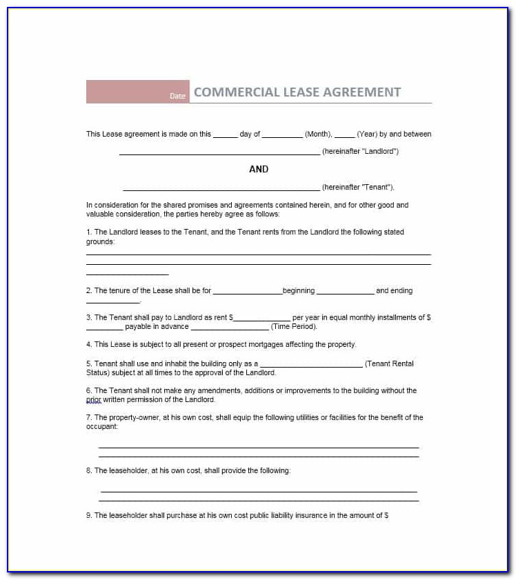 Commercial Property Lease Contract