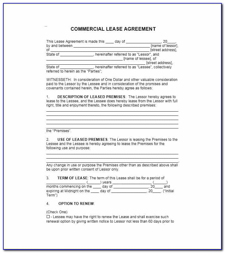 Commercial Rental Lease Agreement Form