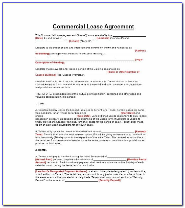 Commercial Rental Lease Agreement Template