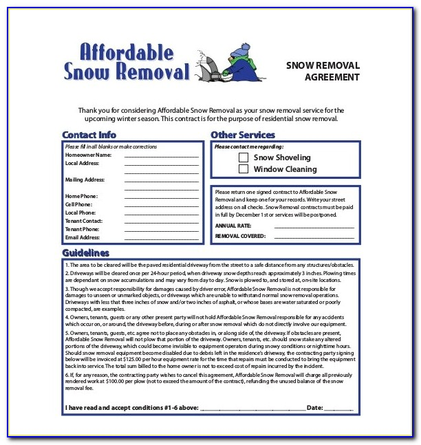 Commercial Snow Removal Contract Template
