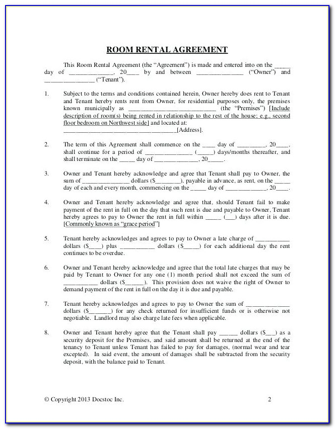 Commercial Sublease Agreement Free Template
