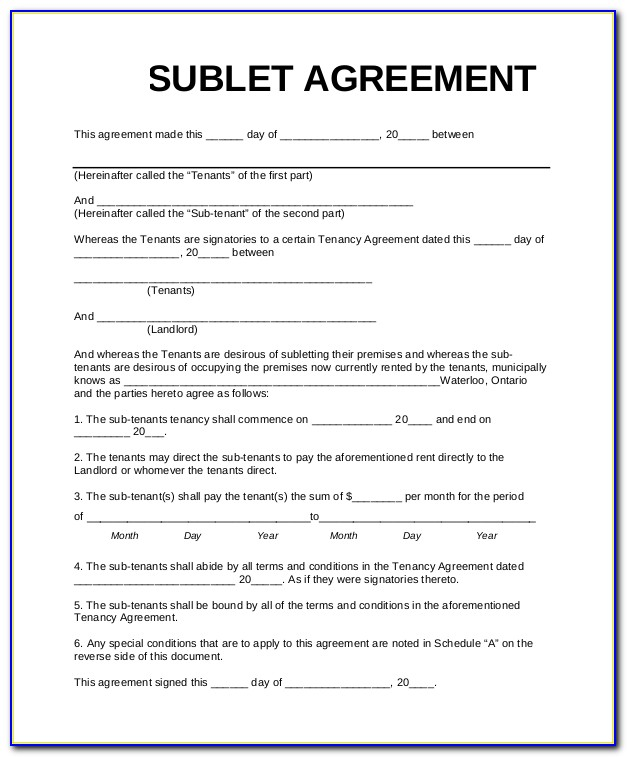 Commercial Sublease Agreement Template Free Australia