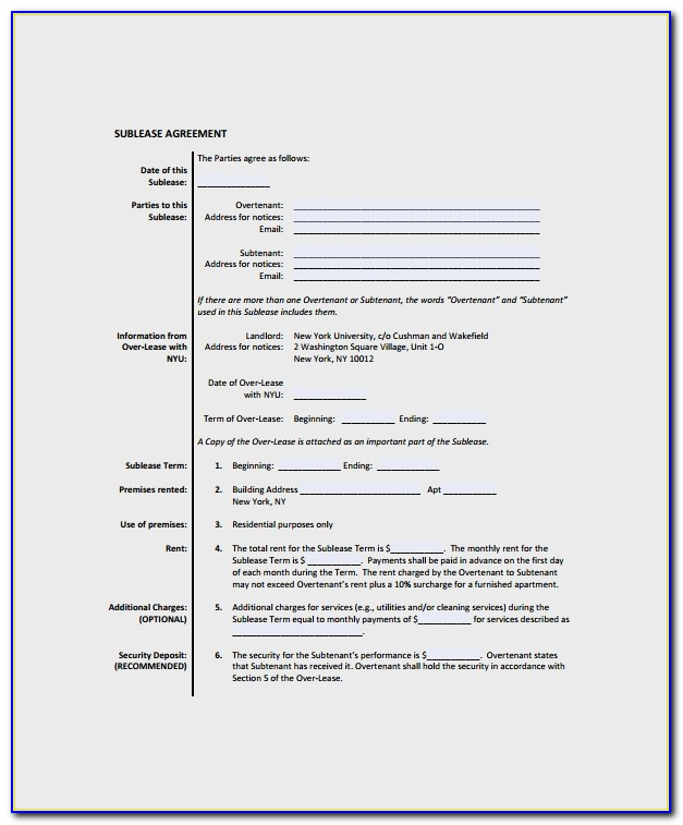 Commercial Sublease Agreement Template Nz