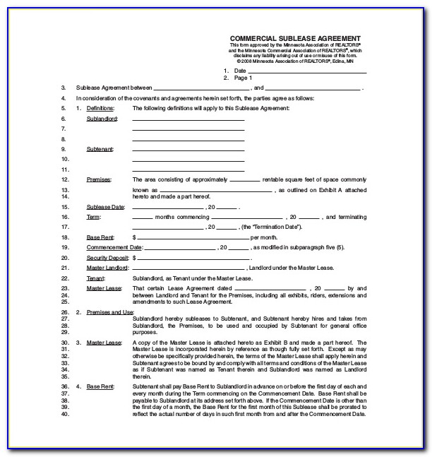 Commercial Sublease Template Uk