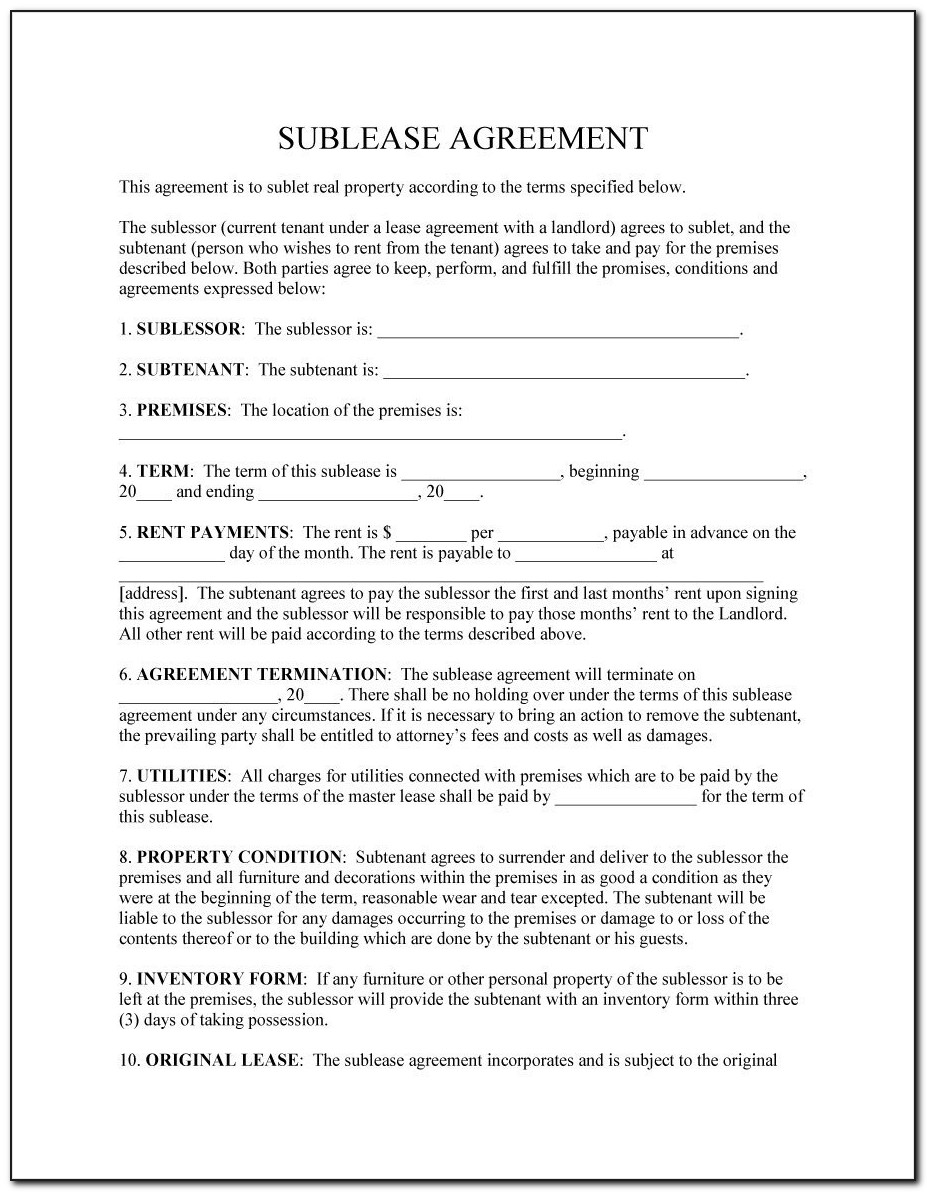 Commercial Sublet Lease Agreement Template