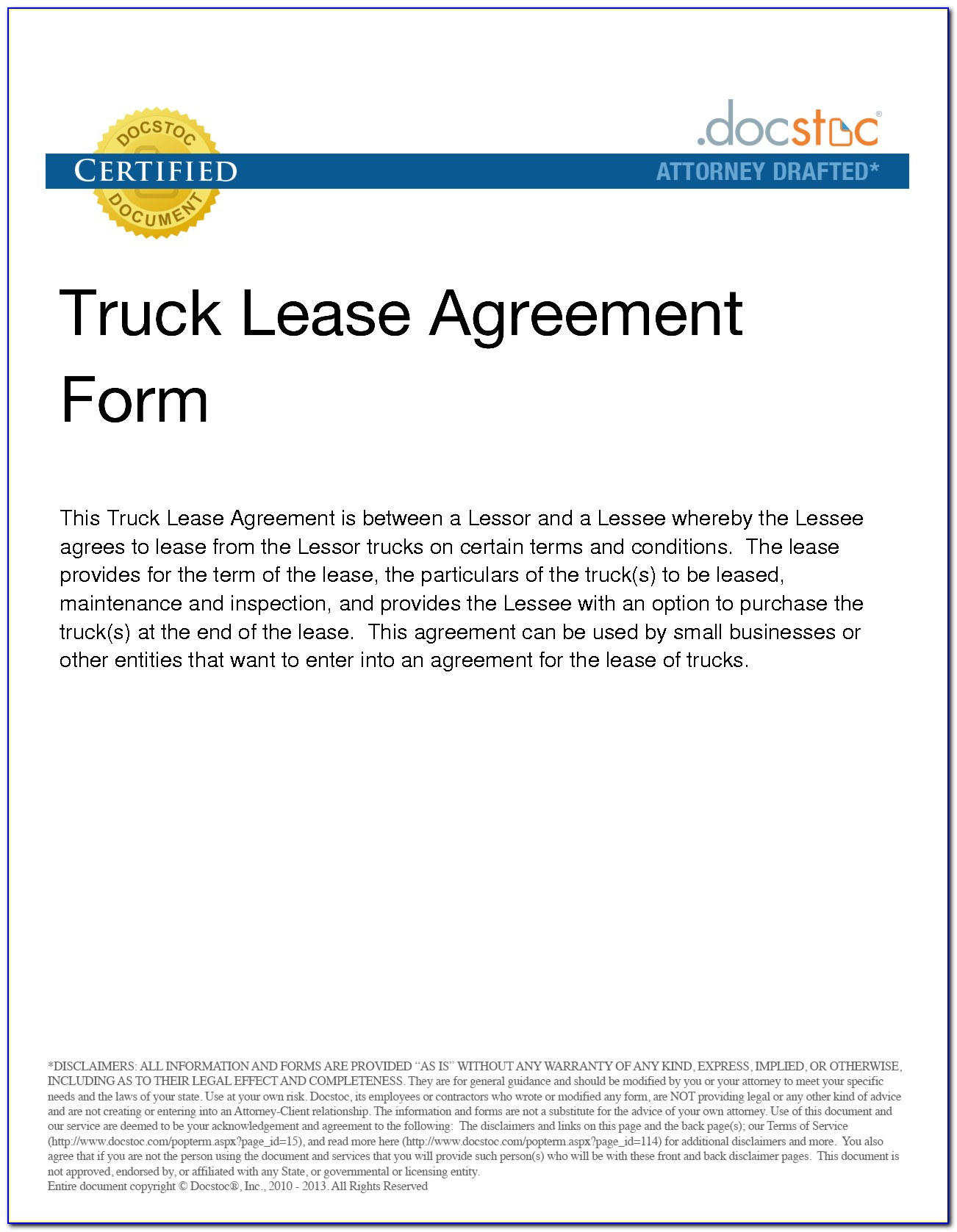 Commercial Truck Lease Agreement Template