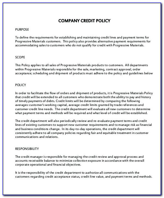Company Credit Card Policy Template Uk