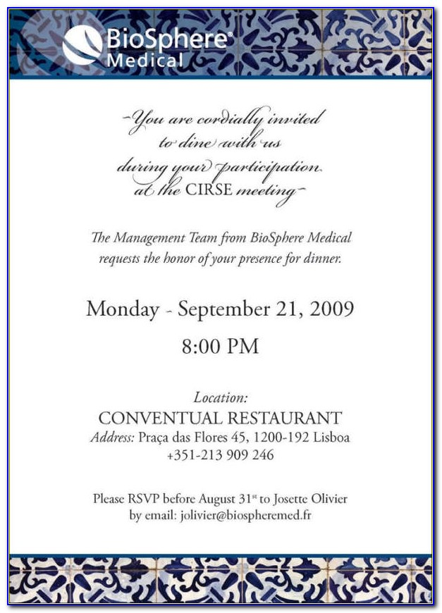 Company Dinner Invitation Wording