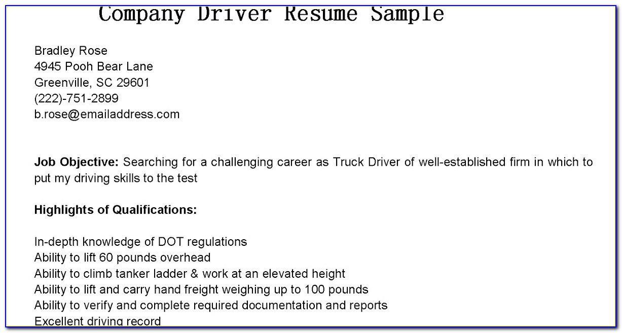 Company Driver Resume Format