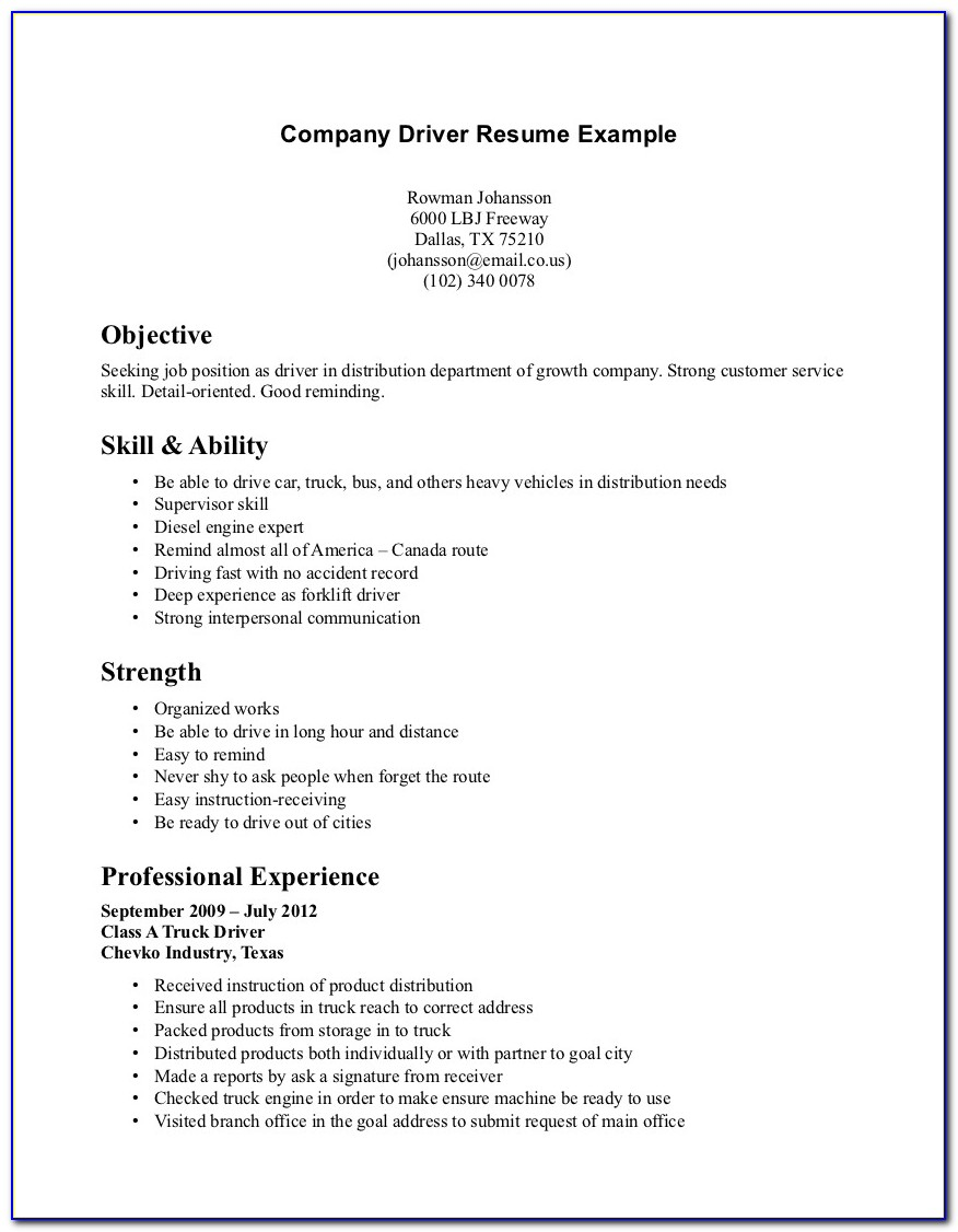 Company Driver Resume Objective