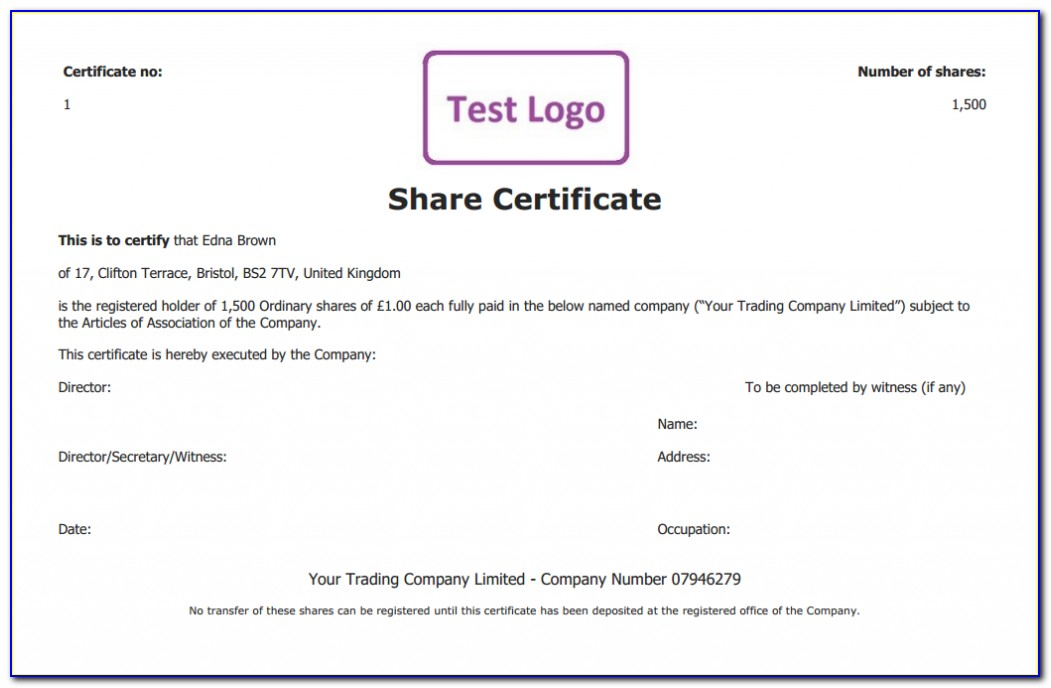 Company Share Certificate Template South Africa