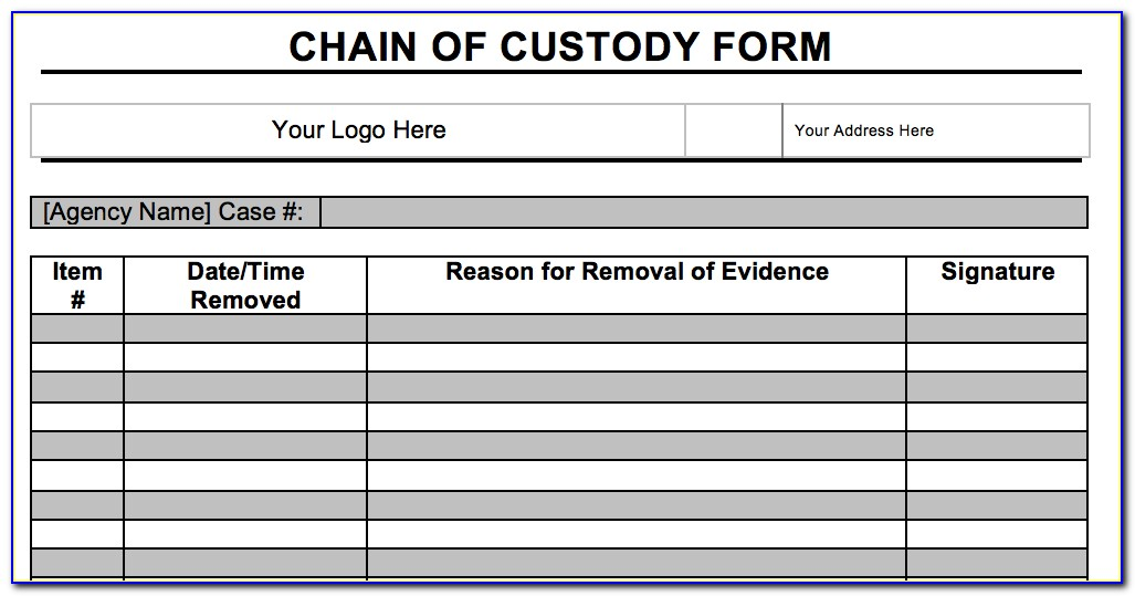 Computer Forensics Chain Of Custody Form Template