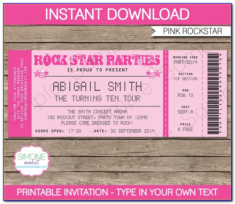 Concert Ticket Birthday Invitation Template