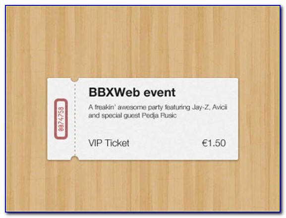 Concert Ticket Template For Gift